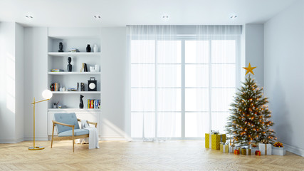 Christmas tree decorate on Modern living room ,wood arm chair  on white wall and wood floor ,at home for the holidays,3d rendering