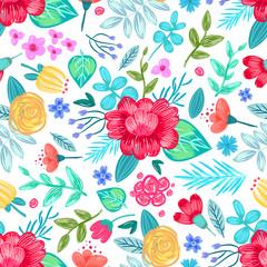 Drawn Flowers Seamless Pattern Vector Illustration