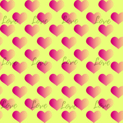 Seamless vector pattern with pink gradient hearts and word Love on yellow background