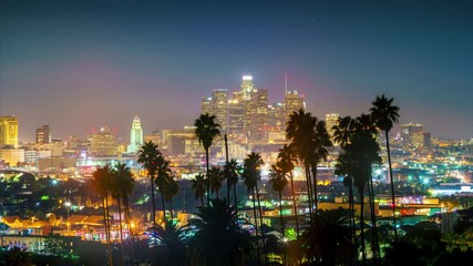 Klistermärke - Twilight to night transition city of Los Angeles downtown skyline 4K timelapse