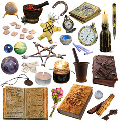 Big set with magic and occult objects isolated on white. Occult, esoteric, divination and wicca concept. Mystic and vintage astrology background for antique decorations, scrapbooking