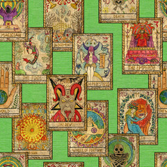 Seamless pattern with old Tarot cards on green background. Occult, esoteric, divination and wicca concept. Mystic and vintage astrology background for antique decorations, scrapbooking