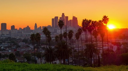 Fotobehang - Sunset to night zoom out from city of Los Angeles downtown skyline