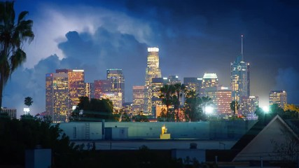 Fototapete - Lightning bolts thunderstorm storm clouds over downtown city Los Angeles skyline