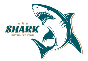 Angry shark logo for swimming club. Perfect to use for printing on tshirts, mugs, caps or other advertising design
