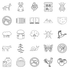 Summer cottage icons set, outline style