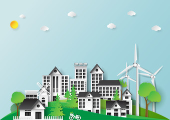Green city and urban landscape paper art style design.Eco friendly and renewable energy of environment conservation concept design template.Vector illustration.