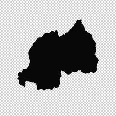 Vector map Rwanda. Isolated vector Illustration. Black on White background. EPS 10 Illustration.