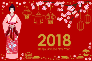 Happy Chinese New Year card. Beautiful Asian girl in festive dress, blooming sakura and oriental lanterns on red background.