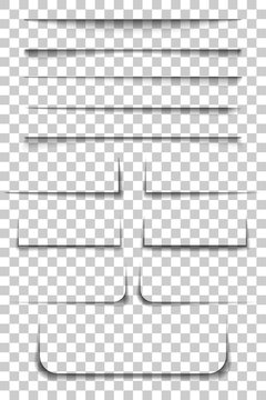 Page divider. Transparent realistic paper shadow effects on checkered background. Vector illustration for your design, template and site.