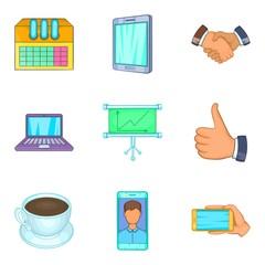 Link icons set, cartoon style