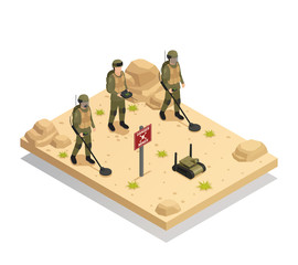 Military Demining Robots Isometric Composition
