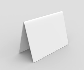Table tent card. Blank white 3d render illustration.