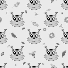 Cute kids squirrel pattern for girls and boys. Colorful squirrel on the abstract pattern create a fun cartoon drawing. The background is made in neon colors. Urban squirrel pattern for textile, fabric