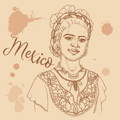 Mexican girl retro style travel poster postcard hand drawn sketch