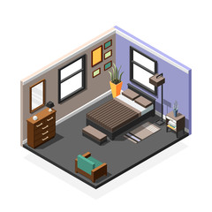 Bedroom Isometric Interior Composition