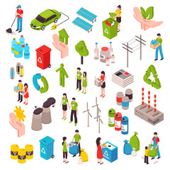 Ecology And Garbage Isometric Set