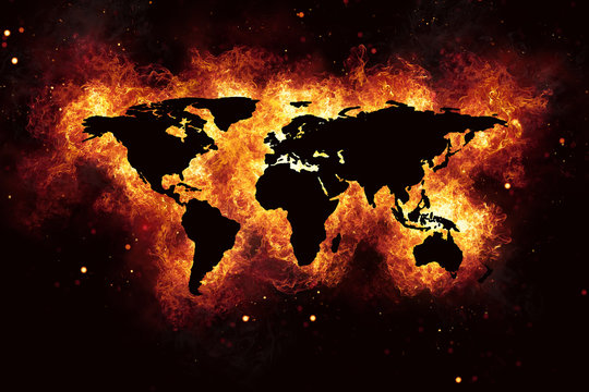 World Map Realistic Burning Fire Flames on Black