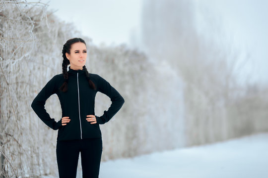 Winter Sport Woman in Outdoor Fitness Session