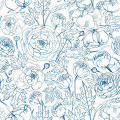 Floral seamless pattern with blooming ranunculus flowers, buds and leaves hand drawn with blue contour lines on white background. Beautiful botanical vector illustration for textile print, wallpaper.