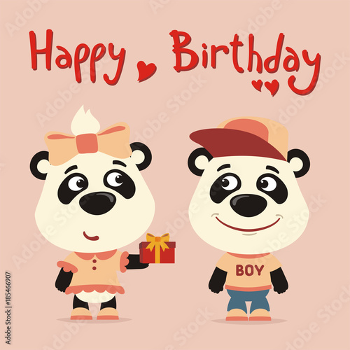 Happy Birthday Greeting Card Funny Panda Girl Gives Gift To Boy For
