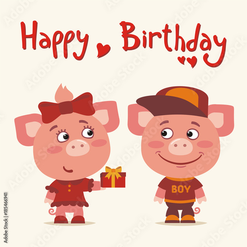 Happy Birthday Greeting Card Funny Pig Girl Gives Gift To Boy For
