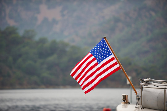 American flag on the boat