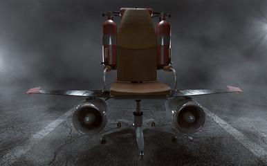 Bürostuhl mit Flügeln und Turbinen