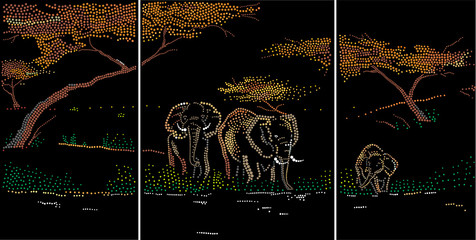 Elephants on a watering place. Triptych