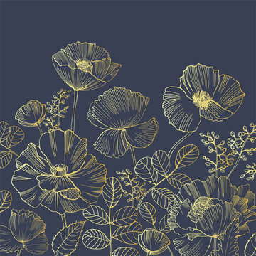 Elegant natural square backdrop with poppy flowers growing from bottom edge hand drawn with golden contour lines on black background. Beautiful floral decoration. Botanical vector illustration.