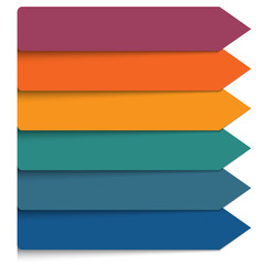 Template 6 positions infographic.Horizontal colorful arrows lines.