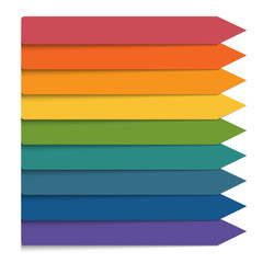 Template 9 positions infographic.Horizontal colorful arrows lines.