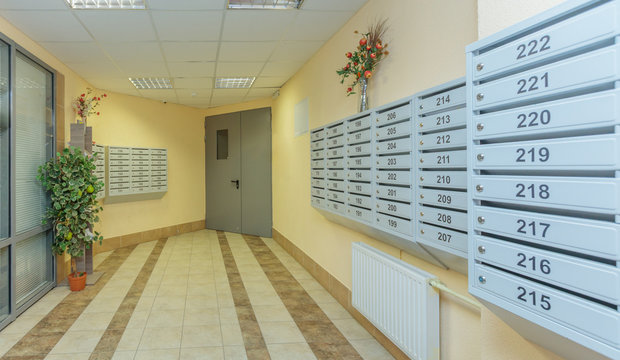 hall mailboxes and doors