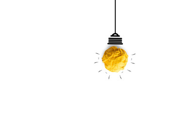 yellow paper light bulb for creative idea innovation on white background