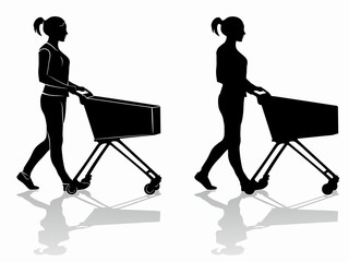 silhouette of a shopping woman with a cart , vector draw