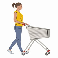 illustration of a shopping woman with a cart , vector draw