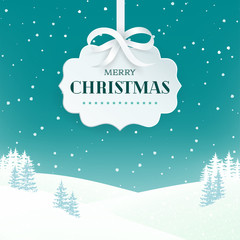 Night winter scene landscape background with snowy field and fir trees. Paper 3d label with silver bow and ribbon on the teal background with falling snow. Merry Christmas nature background. Vector.