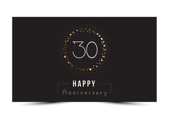 30 years Happy Anniversary card. Vector illustration