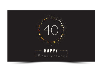 40 years Happy Anniversary card. Vector illustration