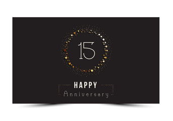15 years Happy Anniversary card. Vector illustration