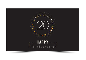 20 years Happy Anniversary card. Vector illustration