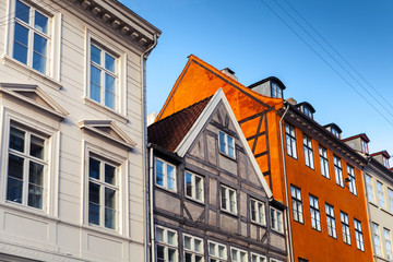 Colorful wooden houses in a row, Denmark