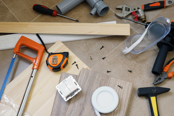 Set of work tools and accessories for home renovation.