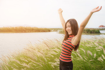 Free Happy Woman Enjoying Nature Beautiful Girl Outdoor,Freedom concept,Beauty Girl over Sky and lake