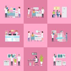 Hospital Activities on Vector Illustration Pink