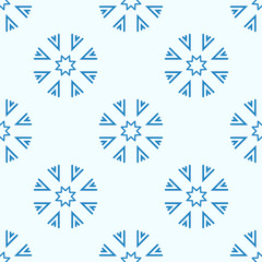 Snowflakes seamless geometric pattern.