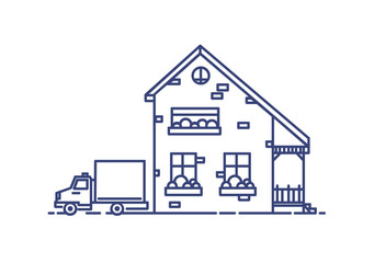 Fototapete - Two-storey suburban house with porch built with bricks and lorry parked beside it. Residential building drawn with blue lines on white background. Monochrome vector illustration in lineart style.