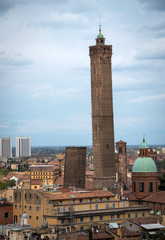 Bologna old city center, Due Torri, Asinelli and Garisenda towers, Italy