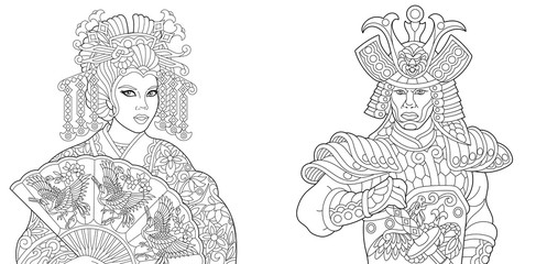 Coloring book. Coloring page. Geisha (oriental dancing actress) holding paper fan with crane birds. Japanese samurai with katana sword. Freehand sketch drawing with doodle and zentangle elements.