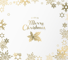 Golden Merry Christmas greeting card with holly.
